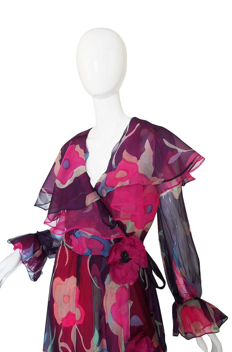 1970s Silk Chiffon & Floral Wrap Dress