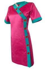Spring 1993 Yves Saint Laurent Pink & Turquoise Enamel Button Dress