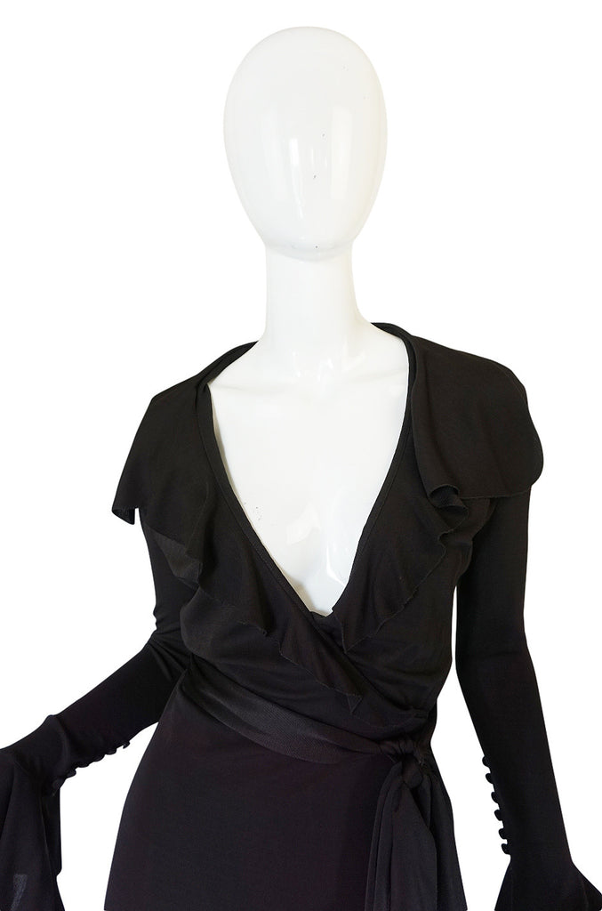 1990s Chocolate Givenchy Wrapped Ruffled Jersey Dress