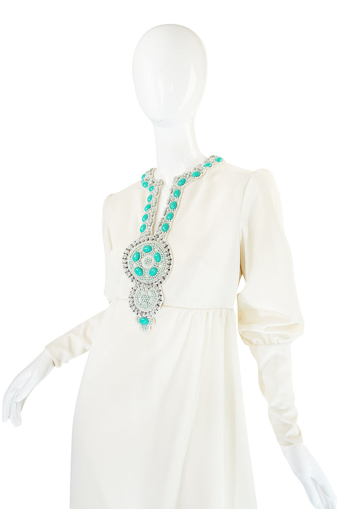 1960s Elaborate Beaded Front Jack Bryan Dress