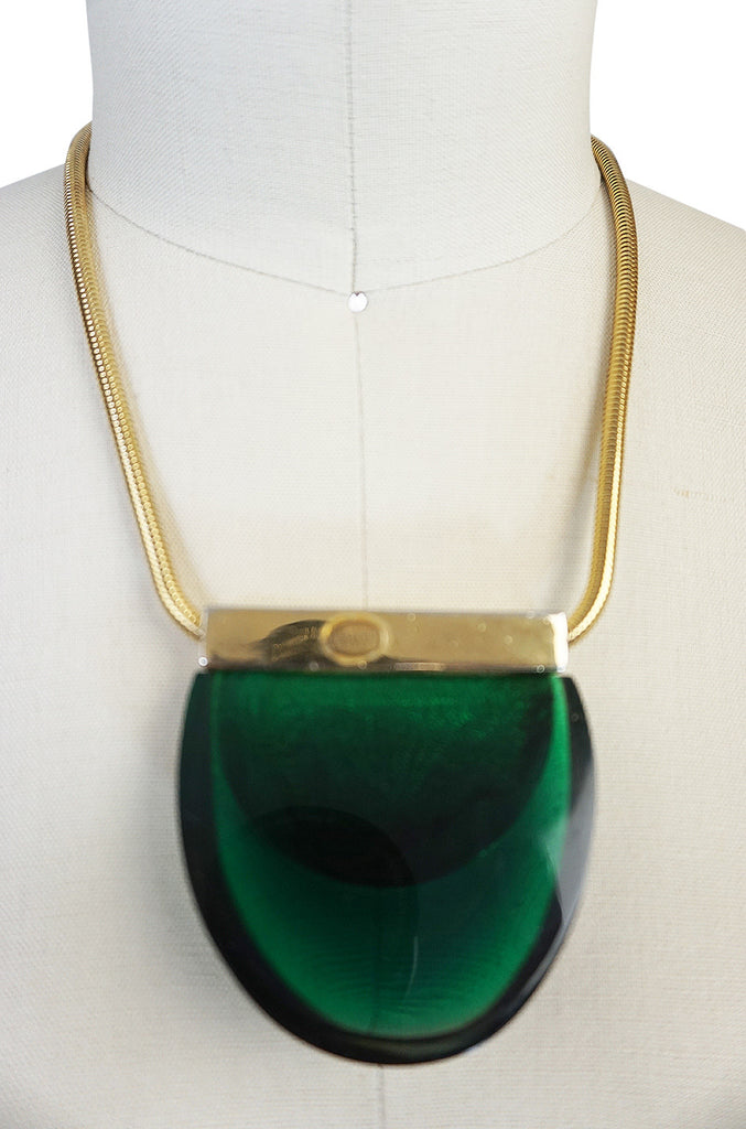 1970s Graduated Green Lanvin Resin and Gold Necklace