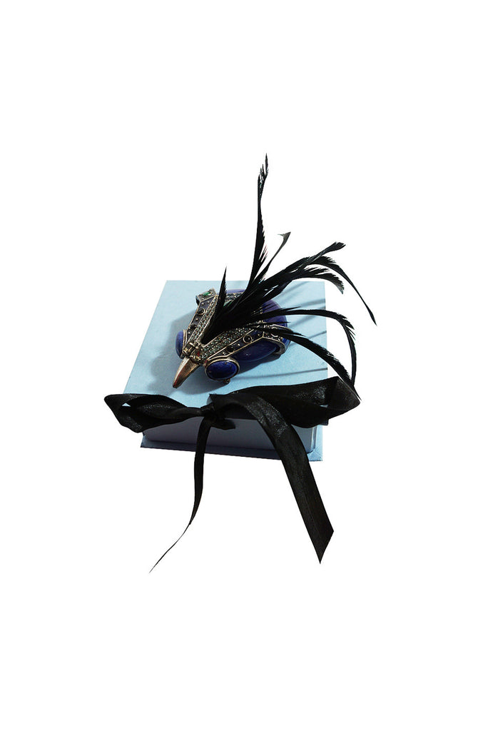 Limited Edition Lanvin Hawk Stone & Feather Brooch