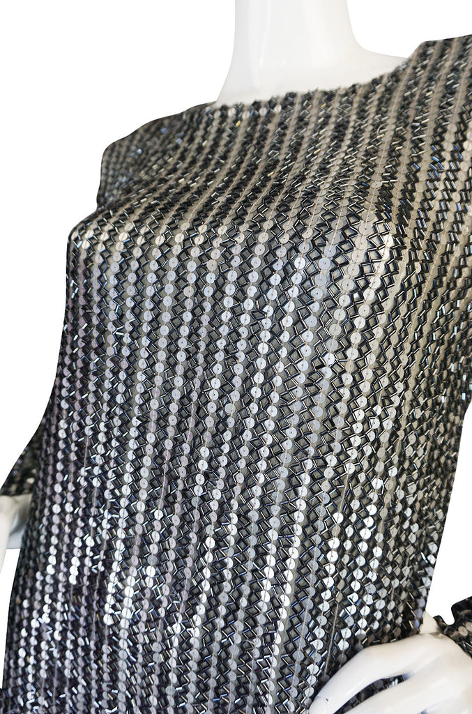 1970s Heavily Sequin & Bead and Silk Pewter Top