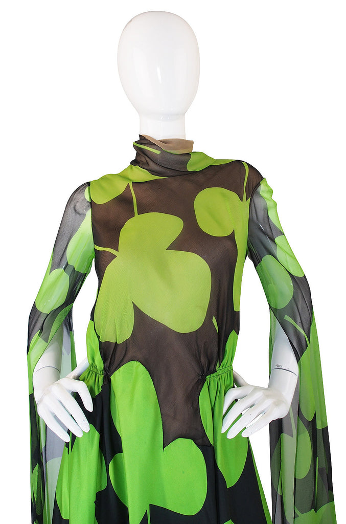 1971 Silk Scarf Sleeve Pauline Trigere Clover Dress