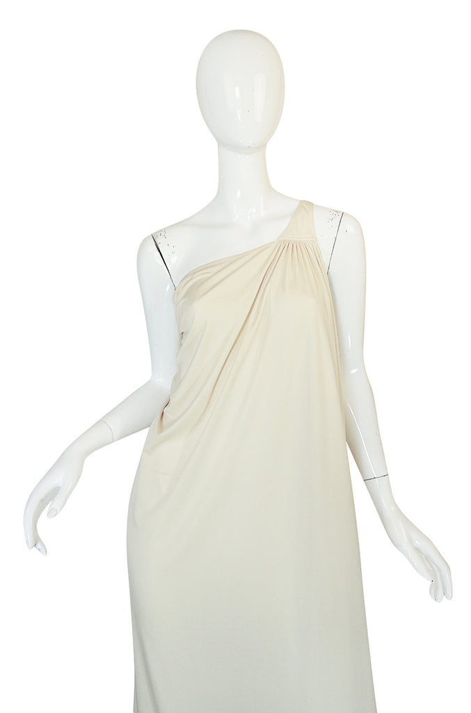 1970s Yuki One Shoulder Draped Cream Jersey Dress