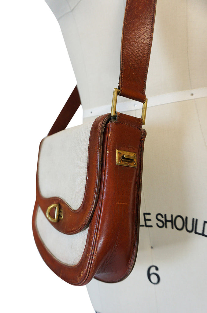 Unusual 1960s Hermes Canvas Bag with Interchangeable Strap