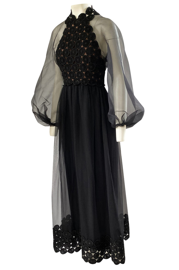 1960s Werle Black Organza & Embroidered Lace Transparent Back Dress