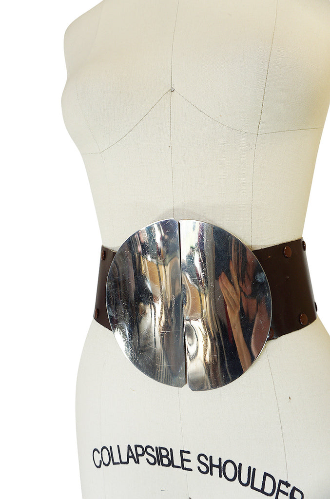 1960s Paco Rabanne Sculptural Silver Metal Circle Belt