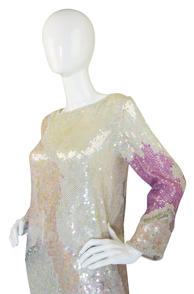 1970s Pink & Cream Halston Sequin Sheath Dress