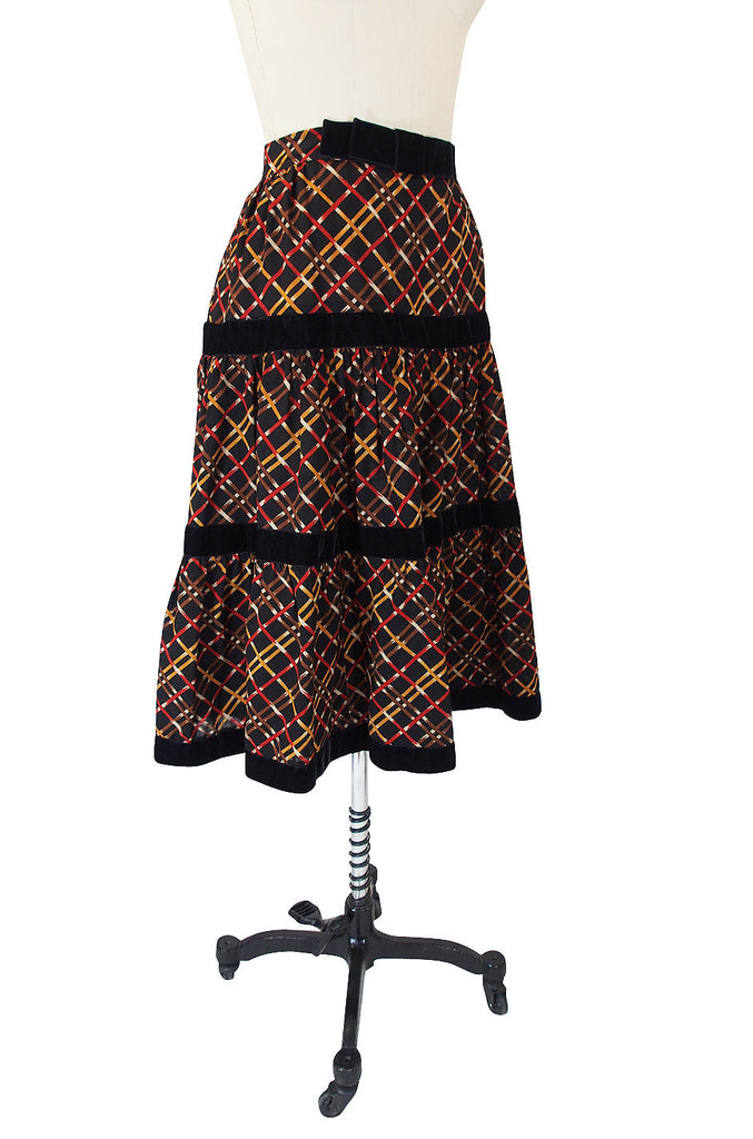 1970s Yves Saint Laurent Plaid Challis Skirt