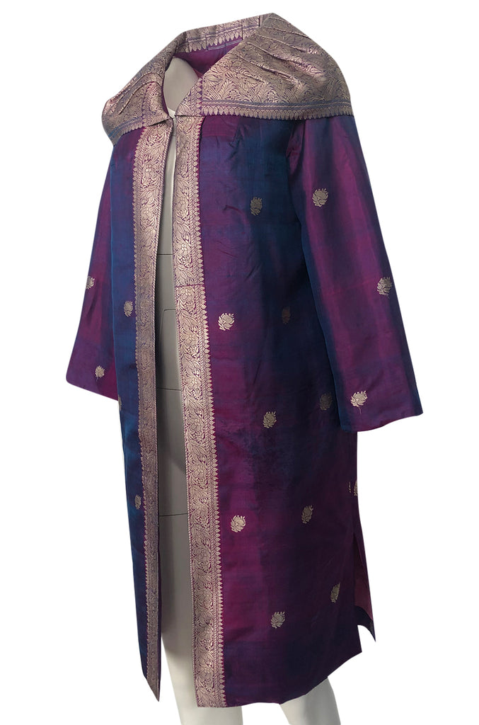 1950s Handmade Woven Gold & Iridescent Purple Shantung Silk Evening Coat