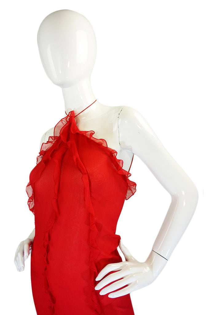 1970s Ruffled Silk Chiffon Bill Blass Bias Cut Dress
