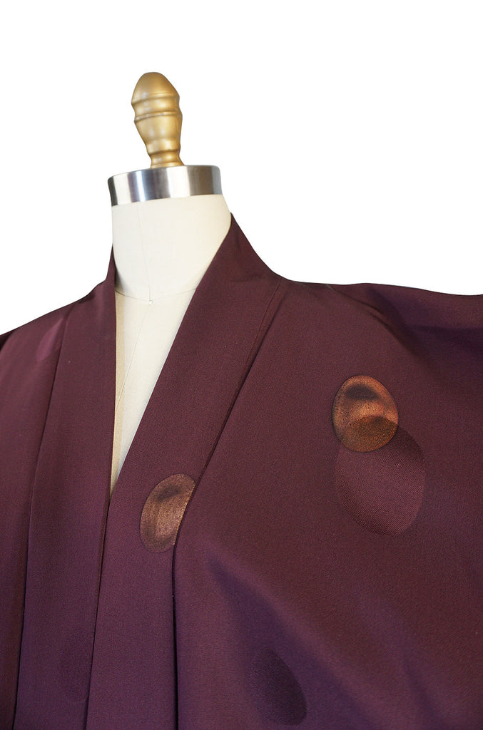 1950s Wine And Metaliic Copper Dot Silk Kimono