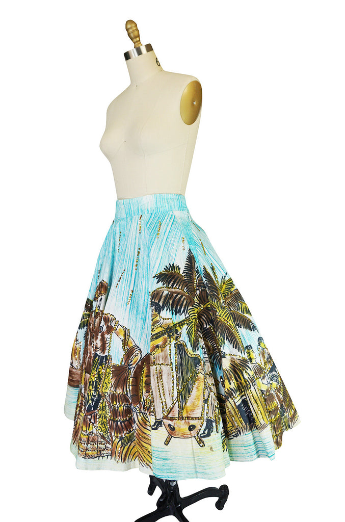 1950s Hand Painted Sequin Artegreen Mexican Skirt