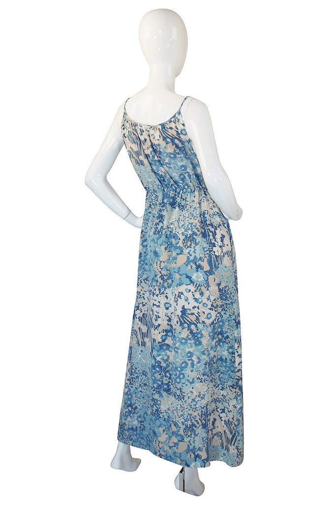1970s Oscar De La Renta Blue Silk Print Dress