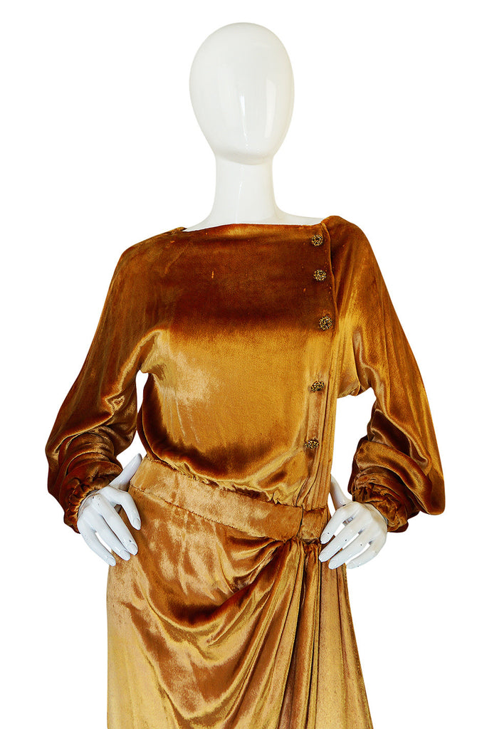 1930s Jean Patou Couture Golden Silk Velvet Wrap Gown