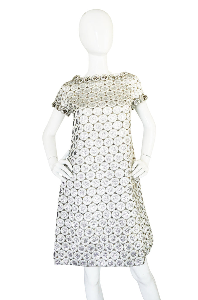 c1966 Numbered Christian Dior Boutique Silver Bead Shift Dress