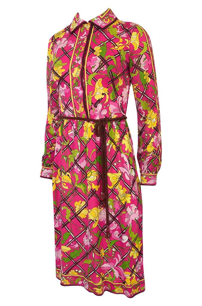 1960s Emilio Pucci Pink Silk Jersey Dress w Coppola e Toppo Crystal Belt