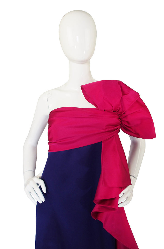 1970s BIll Blass Hot Pink & Purple Silk Gown