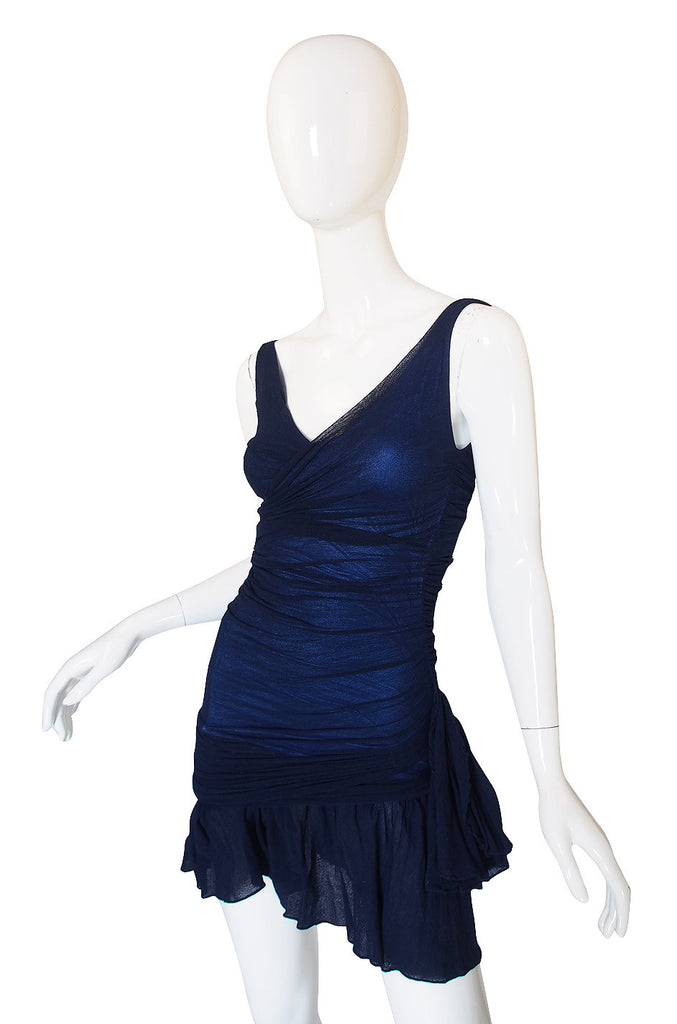 c.1990 Blue Net Silk Giorgio Di Sant Angelo Dress