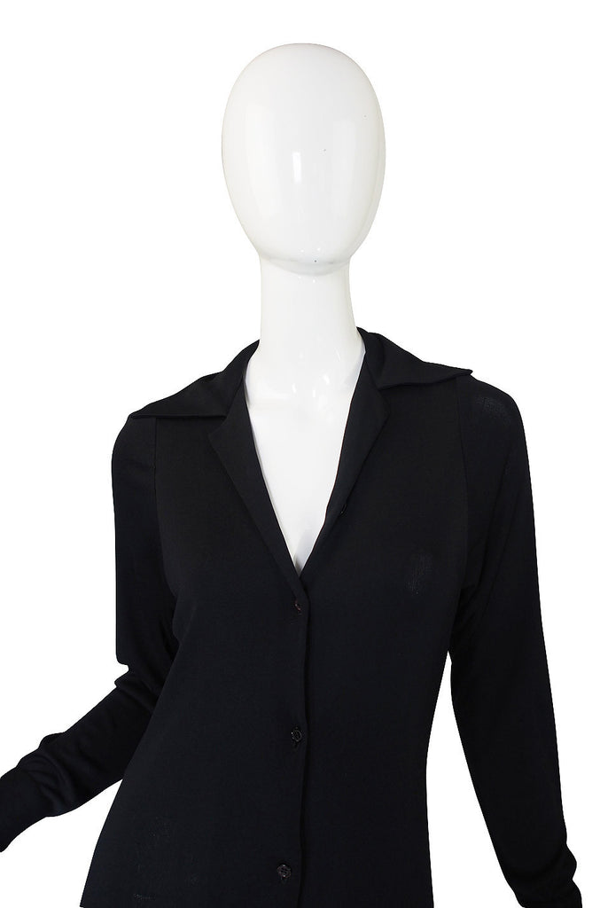 1972 Black Silk Jersey Halston Shirt Dress