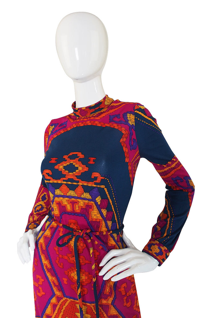 1970s Beautiful Printed Jersey Leonard Dress