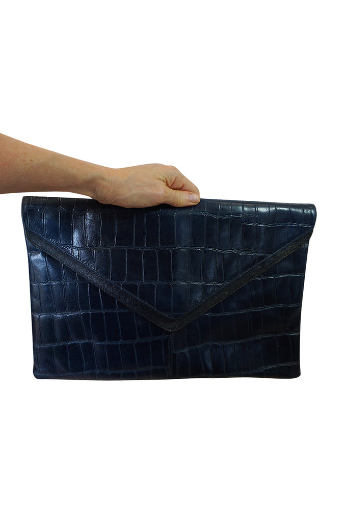 1980s Deep Blue Crocodile or Alligater Stamped Leather Clutch Bag