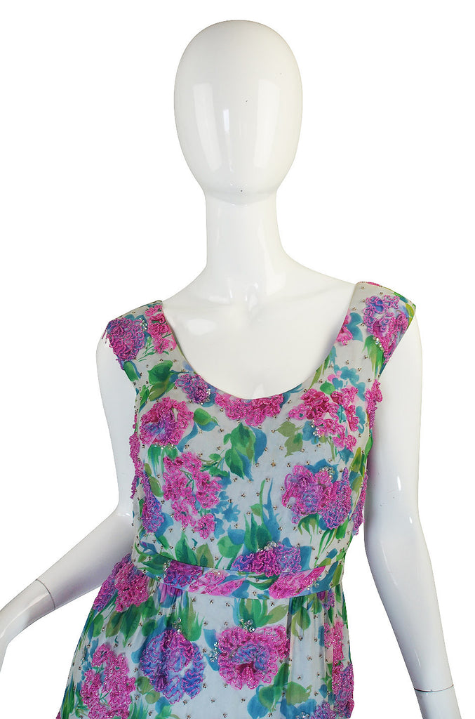 1960s Heavily Beaded Floral Malcolm Starr Dress