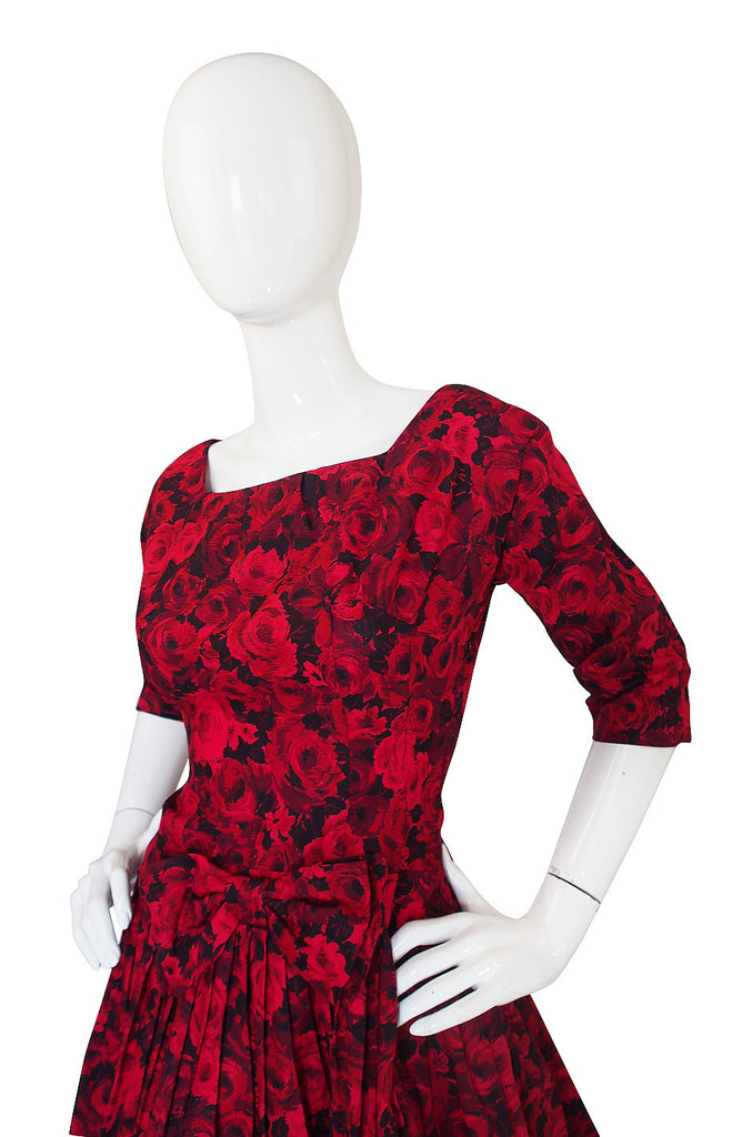 1960s Red Roses Pouf Skirt Cocktail Dress
