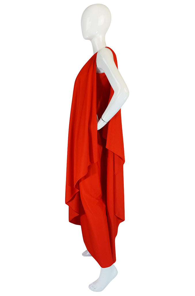 1978 Red Halston One Shoulder Jersey Dress As Seen on Kate Moss