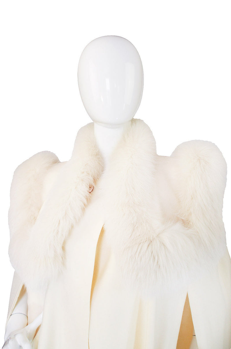1980s Cream Wool Fox Fur Collar Cape