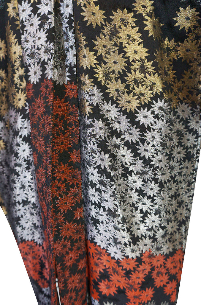 1950s Dramatic Multi Color Metallic Floral Kimono