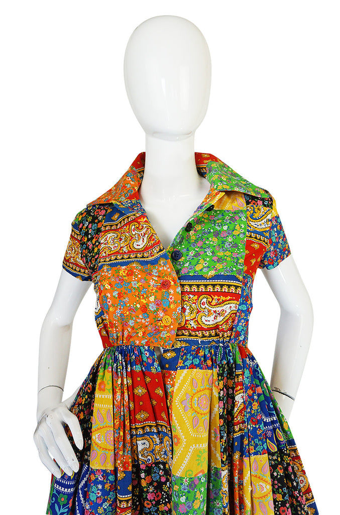 Museum Held 1960s Beene Bazaar Patchwork Dress