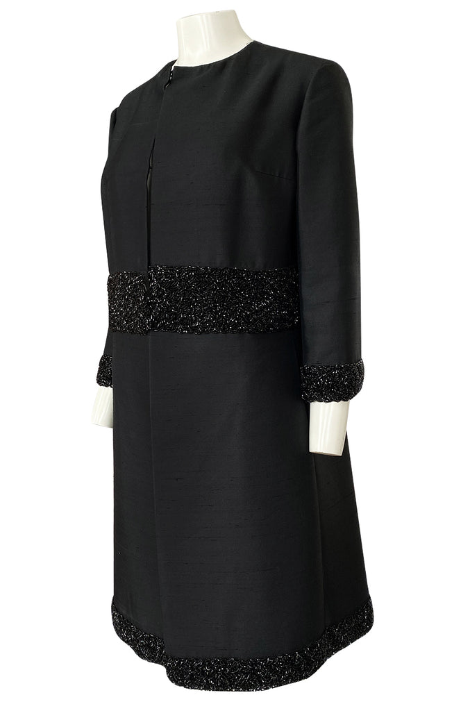 1950s Black Silk Evening Coat w Heavy Beading at the Hem, Cuffs & Waist