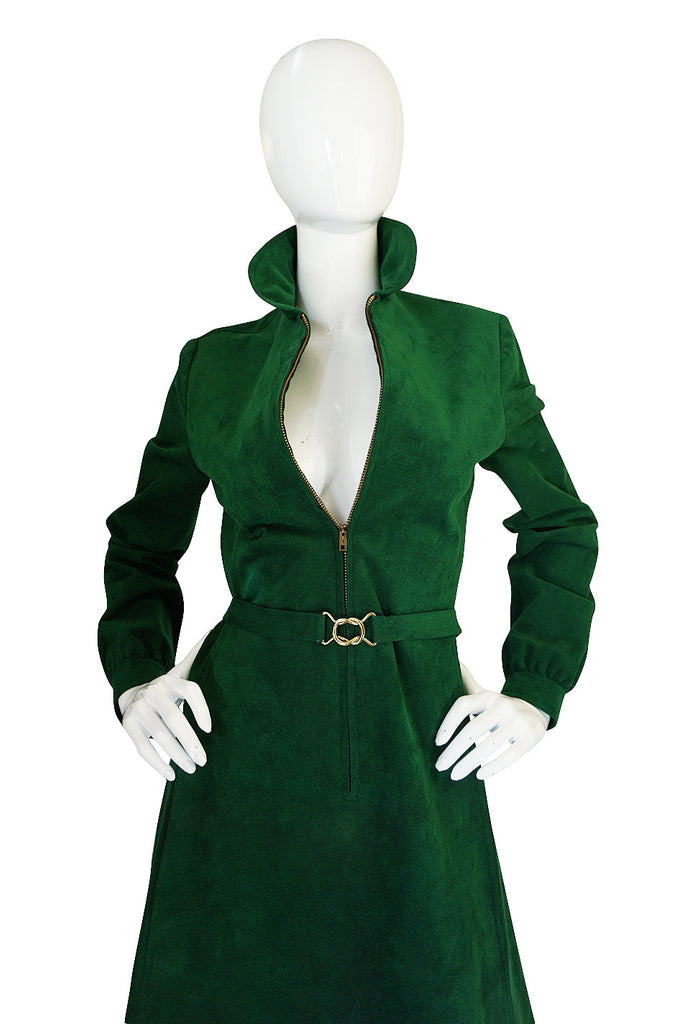 1972 Green Ultrasuede Halston Dress with Belt