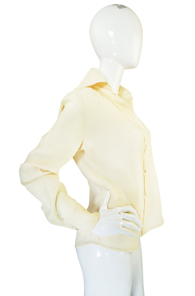 1960s Jeff Banks Pointed Collar Cream Button Shirt