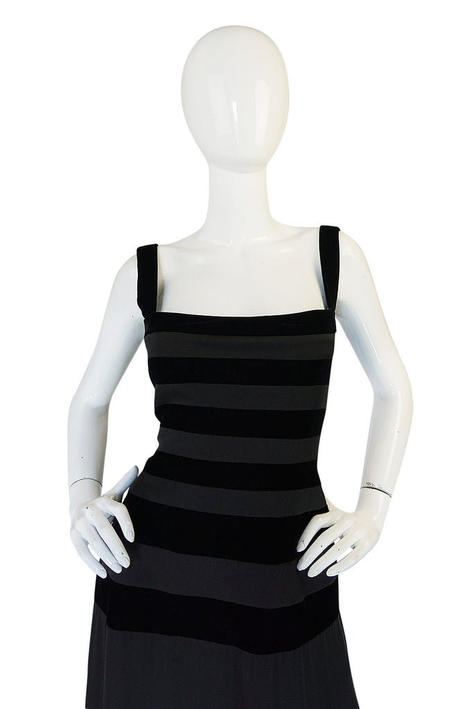 1990s Herve Leger Black Velvet and Silk Bandage Dress