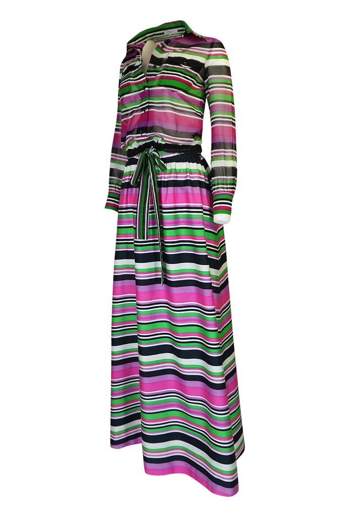 1970s Givenchy Vivid Pink Silk Striped Skirt & Top Dress Set