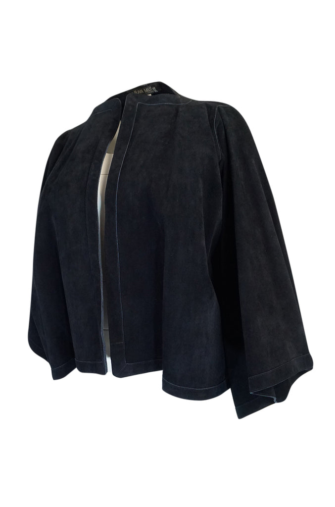 1970s Jean Muir Deep Navy Full Cut Suede Caped Jacket