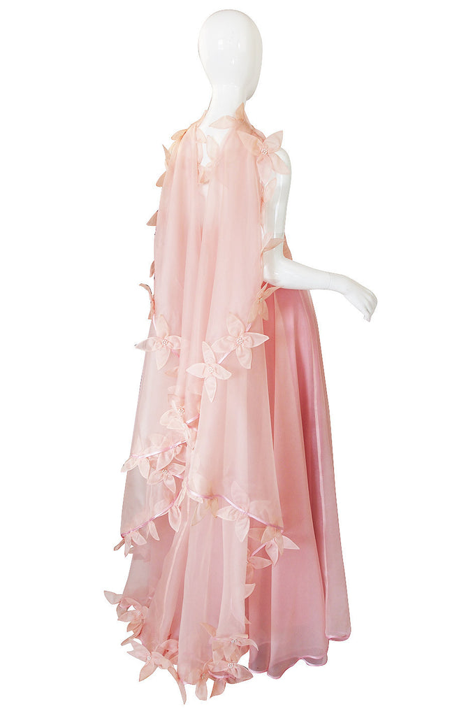 Dramatic 1975 Loris Azzaro Couture Pink Silk Gown & Cape