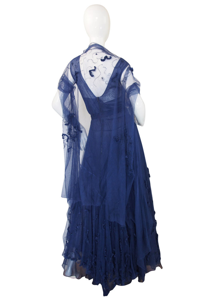 Late 1940s Norman Hartnell Attr Couture Net Gown