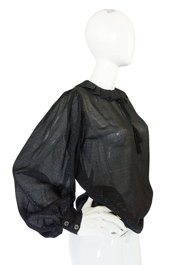 Fall 1977 Yves Saint Laurent Black Lame Thread Silk Top