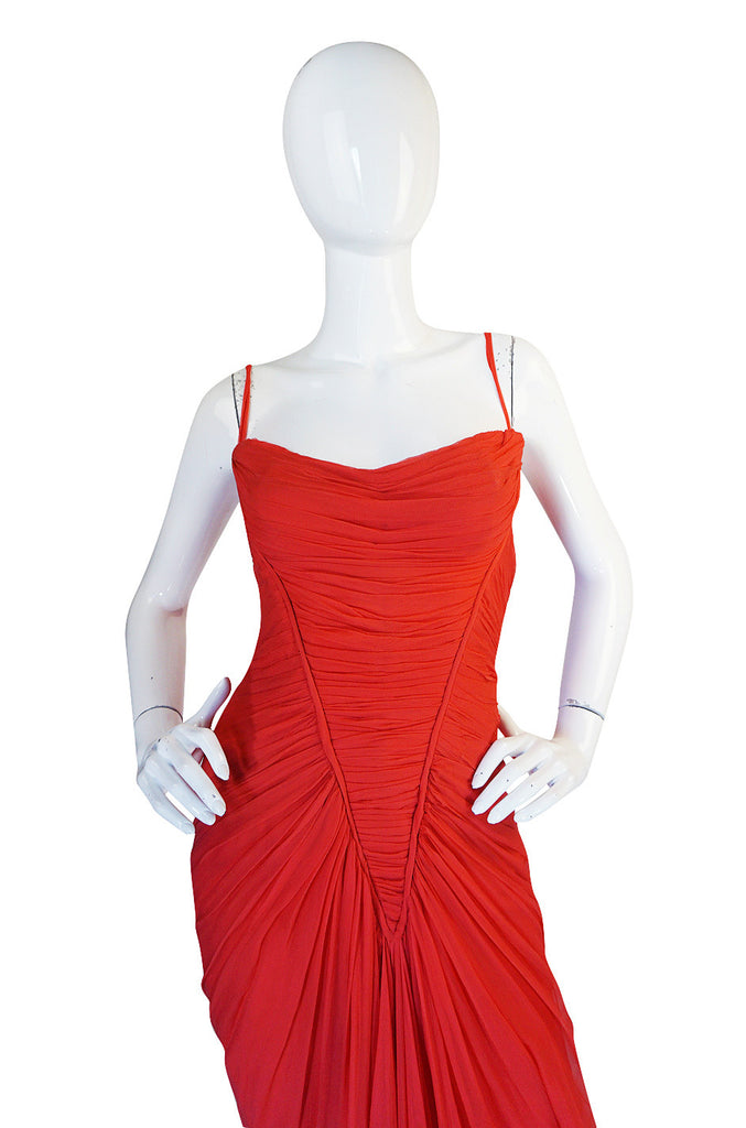 c1959 Haute Couture Maggy Rouf Red Draped Gown