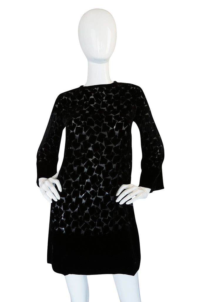 1970s Yves Saint Laurent Fused Velvet & Silk Chiffon Shift Dress