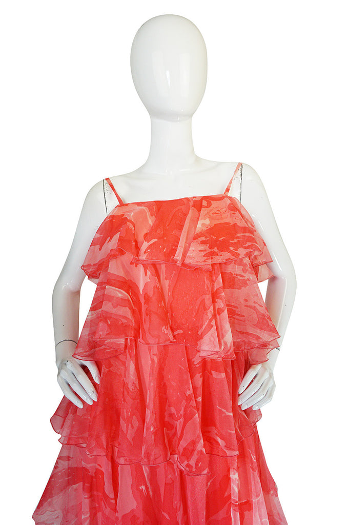 1960s Tiered & Ruffled Silk Chiffon Coral Maxi Dress
