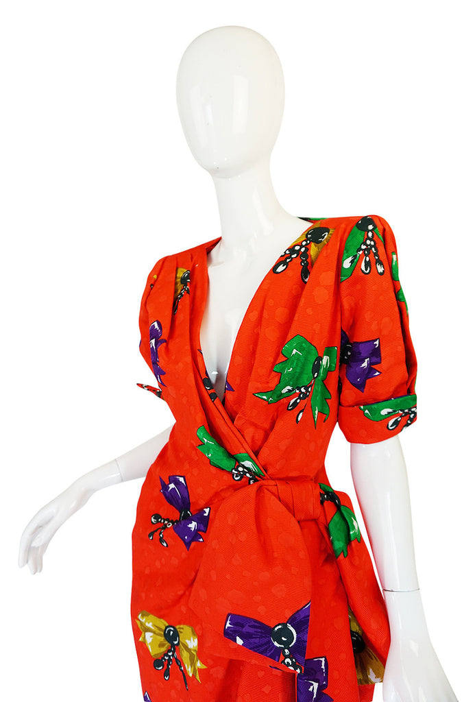 1980s Bow Print Odicini Couture Red Wrap Dress