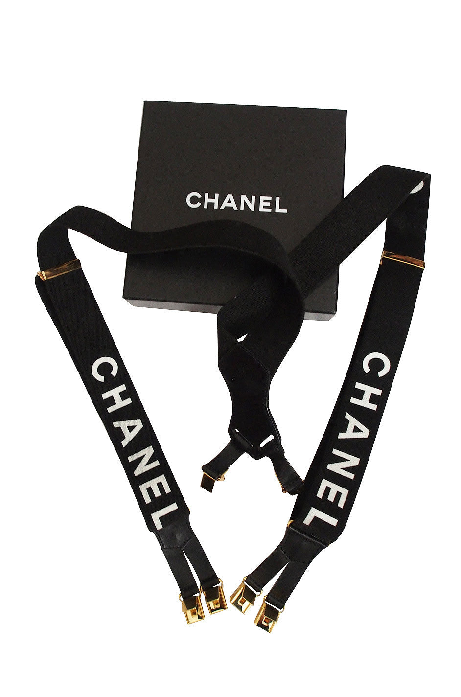 chanel suspenders. early 2000s iconic vintage chanel suspenders g