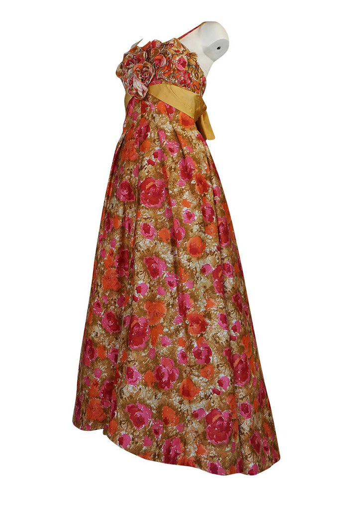 1950s Sequin, Rhinestone & 3D Floral Detailed Polished Cotton Dress