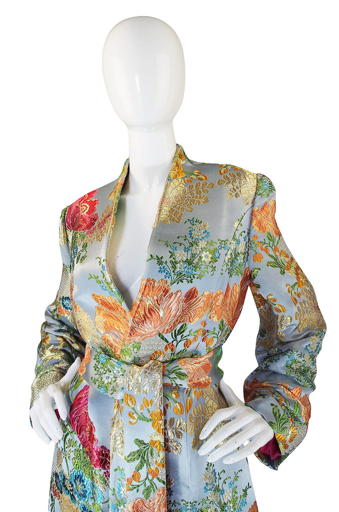 1990s Peggy Jennings SIlk Brocade Wrap Coat