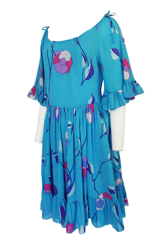 1970s Emilio Pucci Turquoise Silk Chiffon Off Shoulder Dress